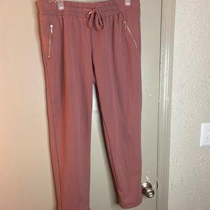 Dusty pink elastic waist crop pant large